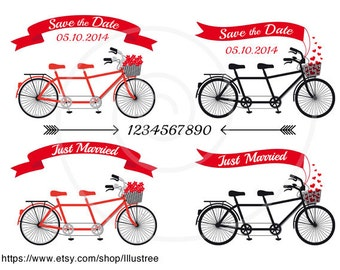 Wedding invitation clip art, tandem bicycle, banners, ribbons, save the date, just married, digital clipart set, vector, instant download