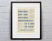 Your Only Available Transportation Is A Leap Of Faith / Margaret Sheppard - Inspirational Quote Dictionary Page Book Art Print - DPQU035