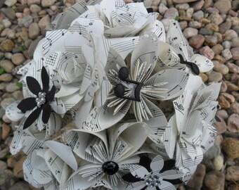 custom Paper Flower Wedding Bouquet/ Vintage Sheet Music Origami