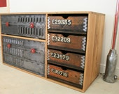 Beautifull Bespoke storage solution LIMITED EDITION reclaimed wood and polished shutter doors sideboard kitchen unit shop display