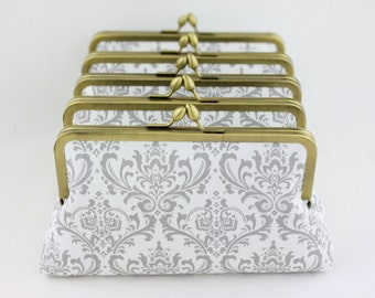 Gray & White Damask Bridesmaid Clutches / Wedding Purses / Floral Bridesmaid Purse Clutch - Set of 4