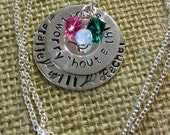 Three Little Birds Hand Stamped Sterling Silver Necklace