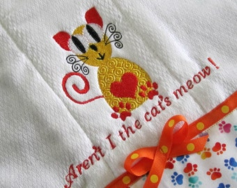 Burp Cloth, Cat Design, Gold and Orange  With Multicolored Paw Print Fabric Trim and Orange and Gold Bow.