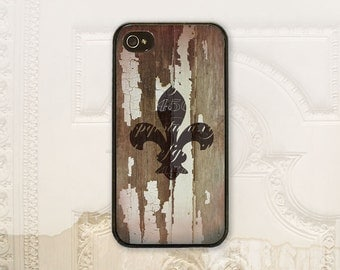 Fleur de lis phone case iPhone 4 4S 5 5s 5C 6 6+ Plus Samsung Galaxy s3 s4 s5 s6 French Shabby chic White chippy wood Vintage style V1088
