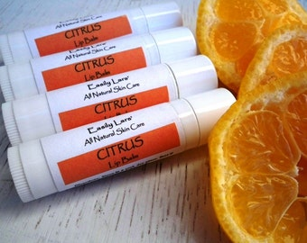 Citrus Lip Balm, Beeswax Lip Balm, Shea Butter, Natural Lip Balm