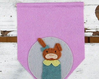Hand Stitched Woodland Rabbit on a Mini Banner with Custom Embroidery - Wisteria Wool Felt Wall Hanging - Nursery Decor or Home Decor