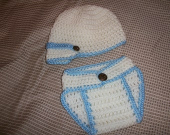 Baby Crochet Hat and Diaper Set White / Blue Baby Photography
