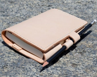 Handmade Leather Notebook Cover, Refillable Notebook Case, Leather Planner/Organizer Cover