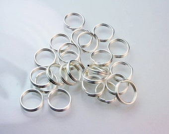 50 Pcs, Small Split Rings, Silver Plated, 8mm, Double Jump Rings, Findings, Circle - Jewelry Sup 003