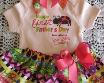 Happy first Father's Day bodysuit with double layer skirt, bow and headband