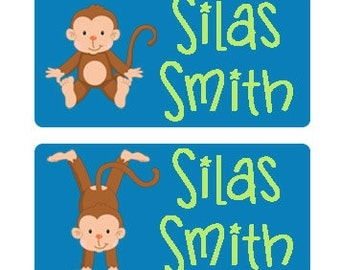 80 Large Personalized Waterproof Baby Bottle Labels Waterproof Stickers  Dishwasher Safe Daycare Label School Labels Silly Monkey