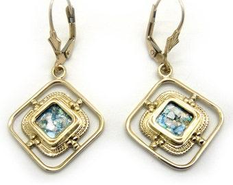 Ancient Roman Glass Earrings, 14K Yellow Gold Earrings, Woman Dangle Rhombus Earrings, Unique Jewelry