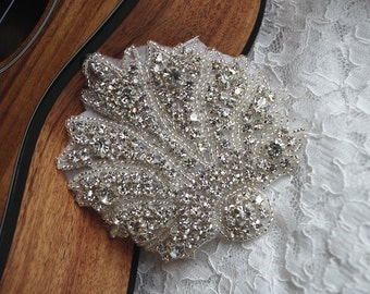 retro rhinestone Applique, bridal swarovski crystal applique, bridal Sash Applique, beaded applique, bridal headpiece applique ZP005