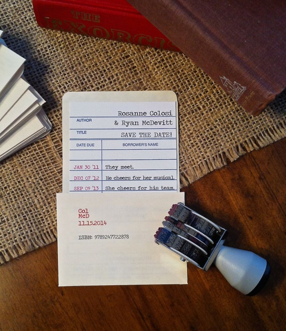 Date Due Library Check Out Card Invitations/Save the Dates (set of 20)
