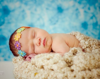 Rainbow Flower Headband, Flower Boho Headband, Newborn Headband, Hippie Headband, Hippie Flower Headband, Newborn Photo Prop, Daisy Bow