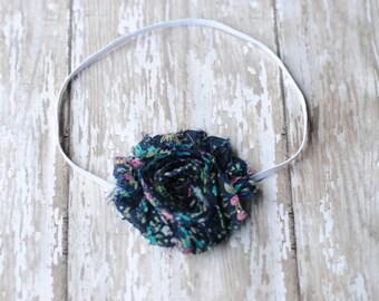 Baby headbands, navy headbands, Shabby Chic Flower Blue Floral Headband  Photography Prop Newborn Baby Girl Headband