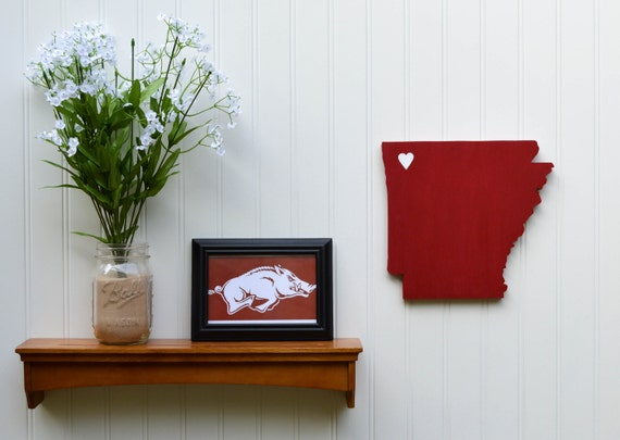 "Arkansas Razorbacks ""State Heart"" wall art, handcrafted wood featuring official team colors"