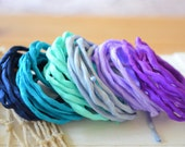 Hand dyed Silk Cords  - Set of 6 - purple midnight blue mint silk strings