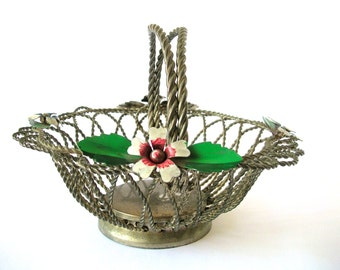 Vintage Basket, Metal Wirework, for Eggs or Fruit, Daisy Flowers Red, Blue, White, Green