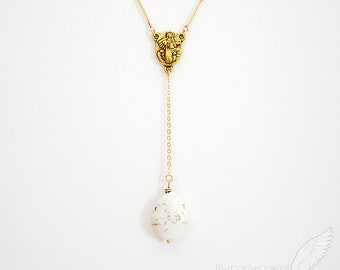 White Turquoise Howlite Smooth Droplet, Rosary Design, Length Your Choice, Necklace