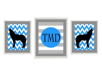 Wolf Nursery Art Prints - Monogram Personalized Initials - Gray Black Blue - Boy Room Howling Wolf - Wall Art Home Decor Set -