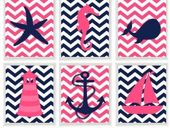 Baby Girl Nautical Nursery Art, Navy Blue Pink Decor, Whale, Anchor, Lighthouse, Sailboat, Girl Room Art, Nautical Girl Prints, Beach Prints