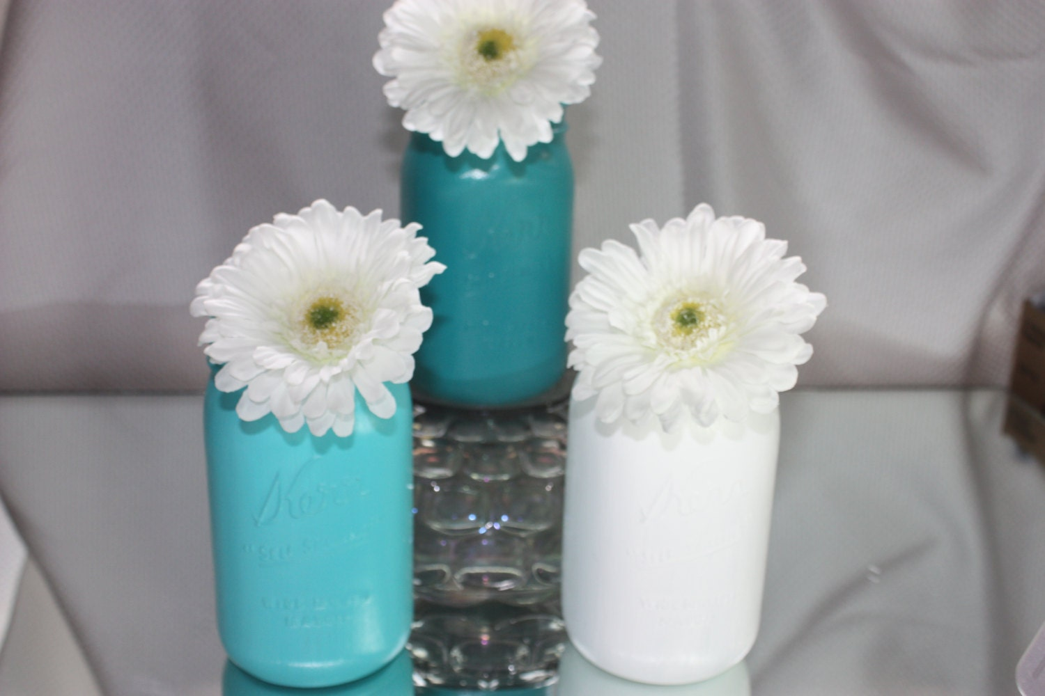 Blue wedding centerpiece vase and white for your