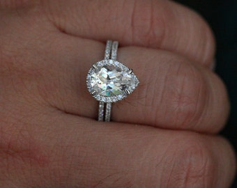 14k white gold 10x7mm white topaz pear engagement ring and diamond wedding band set choose color and size options at checkout - Engagement Rings With Wedding Band Set