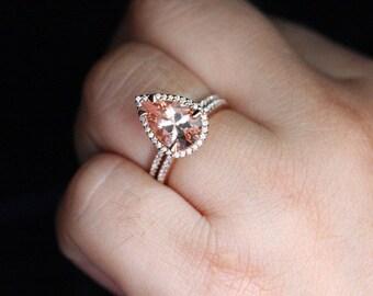 peach pink morganite engagement ring pear morganite ring wedding ring set in 14k rose gold 12x8mm morganite and diamond bridal ring set - Teardrop Wedding Ring