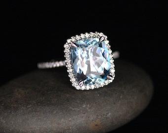 Flawless Aquamarine Engagement Ring Diamond Halo Ring in 14k White Gold Aquamarine Cushion 11x9mm and Diamonds
