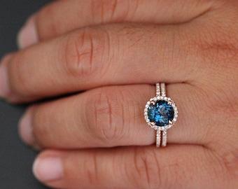 14k Rose Gold Purple Amethyst Emerald Cut 10x8mm and Diamonds