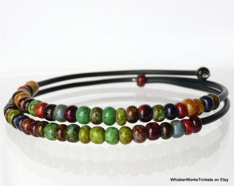 Czech Bead Bracelet -- Earth Tones Jewelry -- Memory Wire -- Handmade Beaded Bracelet --  Boho -- Earthy