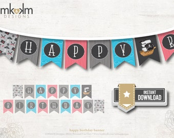 Happy Birthday Banner, Pirate Party Decor, Boys Birthday, Nautical Flag Banner, Pool Party Decor, Pirate Banner, INSTANT DOWNLOAD, #52