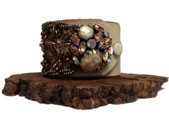 Cream Leather Jeweled Cuff