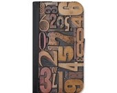 Vintage Letterpress Numbers Wallet Case Choose Samsung Galaxy S3, S4, S5, S6, S6 Edge or Galaxy S7.