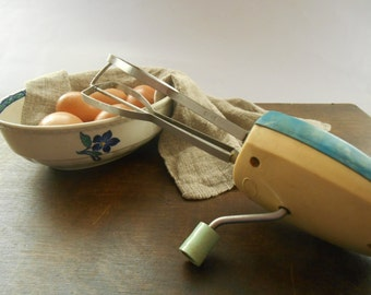 Soviet hand crank mixer egg beater 1960's Vintage blue and white kitchen decor Cooking supply Russian USSR era
