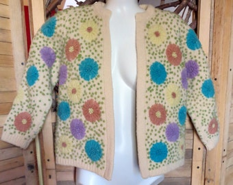 Vintage Cardigan Sweater Thick Virgin Wool Polka Dot Floral Pastels Size S 1960s