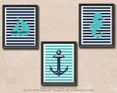 Nautical Wall Decor Set - Nautical Nursery Wall Art - Instant Download