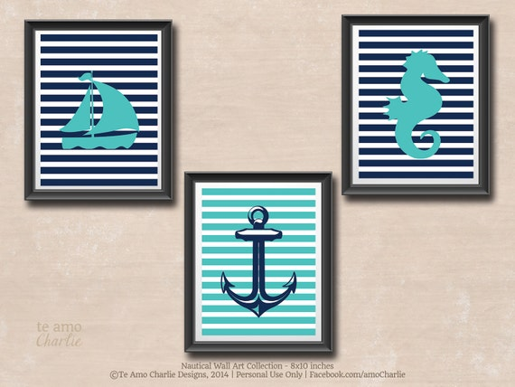 Personalized Nautical Wall Decor : Personalized nautical wall decor set nursery