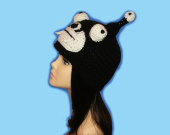 Crochet Black Alien Beanie Hat.(Any Sizes: Newborn to Adult). Please send size.