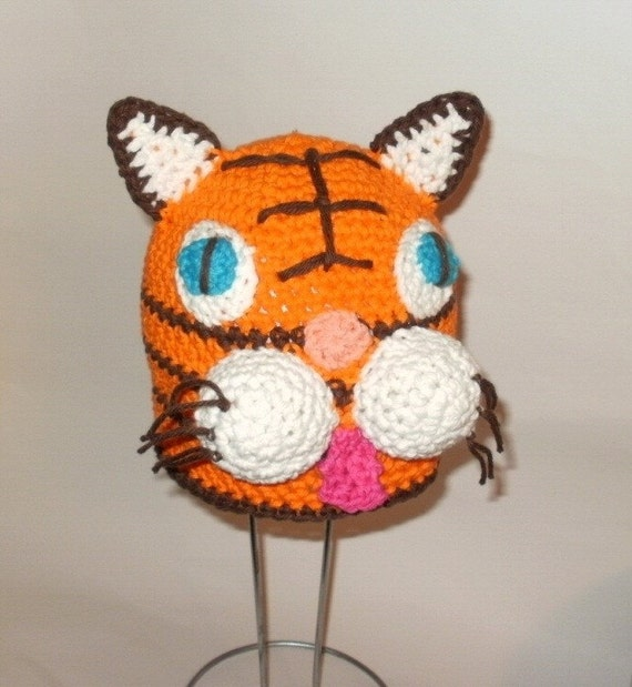 Crochet Pattern PDF Cotton Tiger Hat. Beanie And Earflap