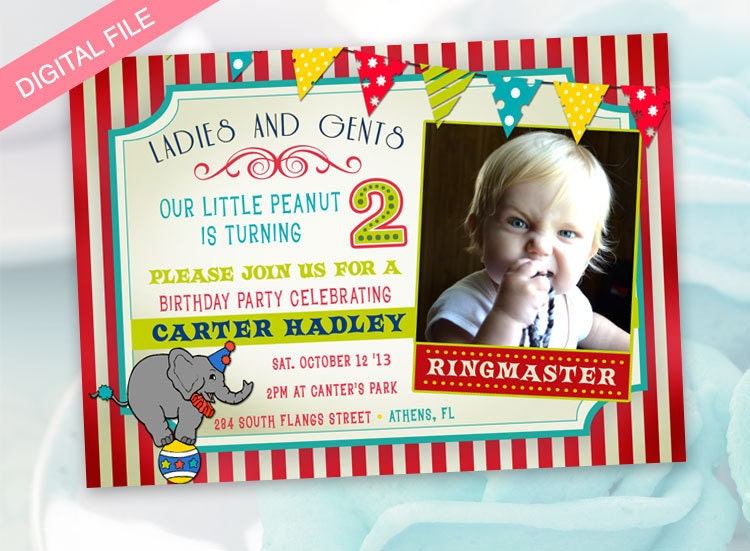 printable circus themed birthday party invitation boy girl any, Birthday invitations