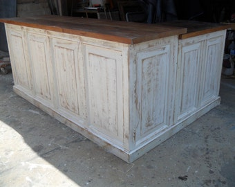 Store counter.   Reclaimed old pine wood.  Custom made in the USA.