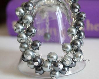 Grey Cluster Bracelet, Cluster Bracelet, Flower Girls Gift, Bridesmaid Bracelet, Shades of Grey Bracelet, Wedding