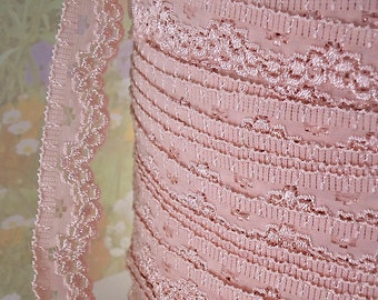 3yds Stretch Lace Trim Antique Pink Ribbon Elastic Trim 7/8 inch Diy Wedding Sewing Trim Baby Headbands, lingerie Edging  Scallop edge