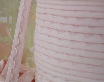 5yds Elastic Ribbon fold over Light Pink Skinny Elastic Headbands with design pattern Elastic by the yard