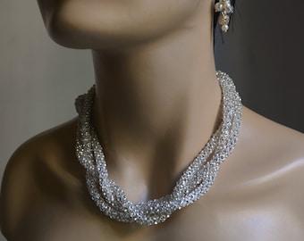 Chunky Rhinestone  Necklace, Bridal  Necklace, Brides Bridesmaids, Wedding Rhinestone Necklace, Pearl Necklace, Rhinestone Necklace,