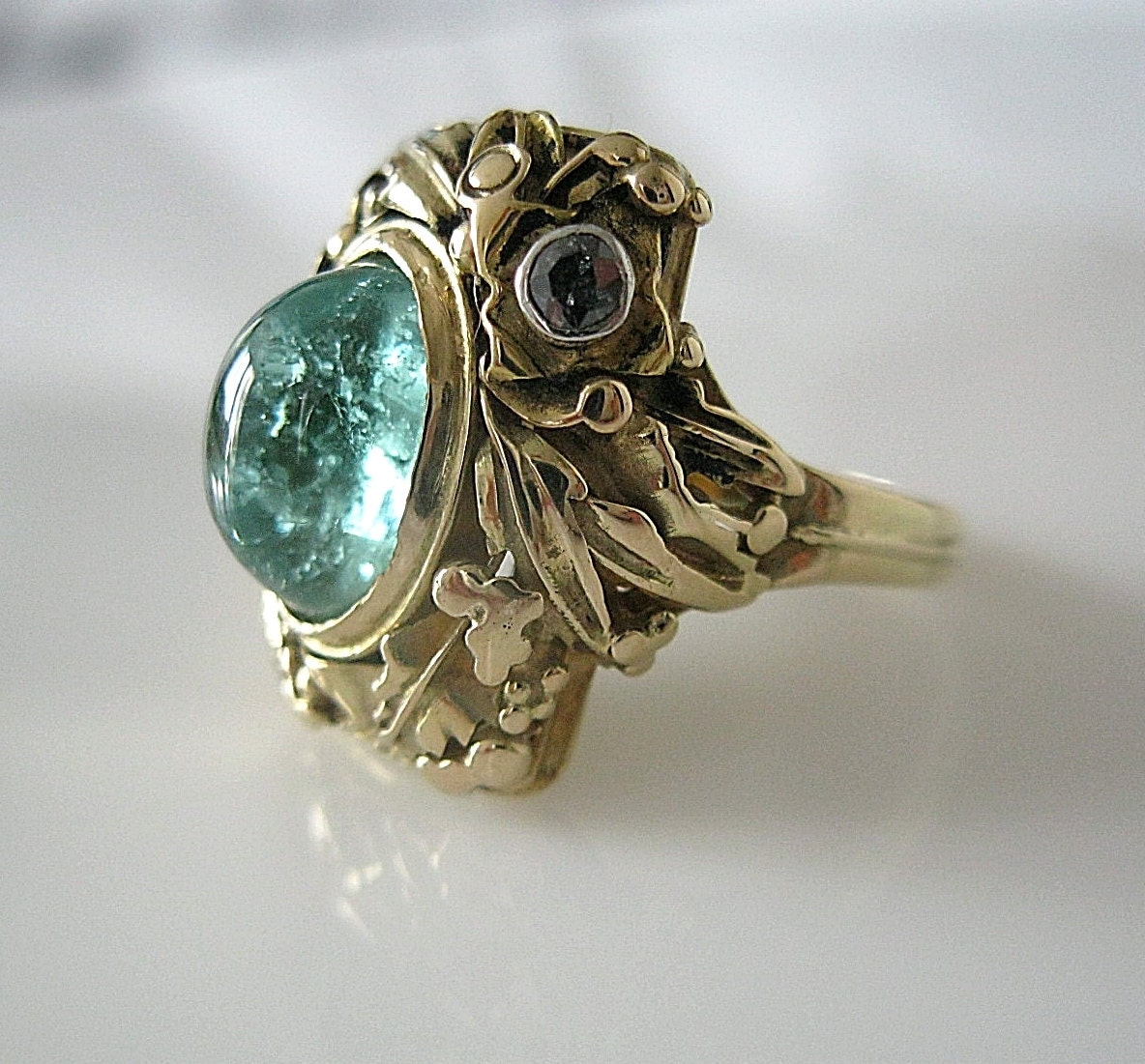 reserved 1 1900s antique tourmaline black gold ring