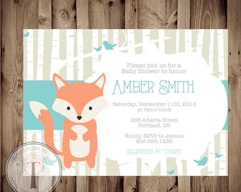 BABY FOX Baby Shower Invitation, baby shower invite, animals, deer, bird, neutral, woodland animals, boy or girl, fox
