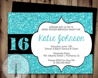 SWEET SIXTEEN Birthday Invitation, Sweet 16 Birthday, girl birthday invitation, glitter birthday invitation, tween birthday invitation